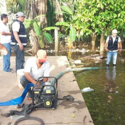 CAPA y Protección Civil trabajan en desagüe y saneamiento básico de zonas inundadas en Kantunilkín