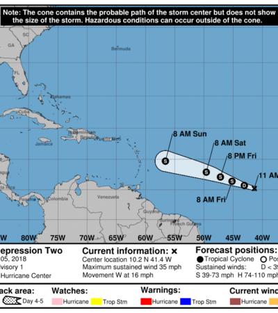 Se forma en el Atlántico depresión tropical 'Dos', pero aseguran que no representa peligro para QR