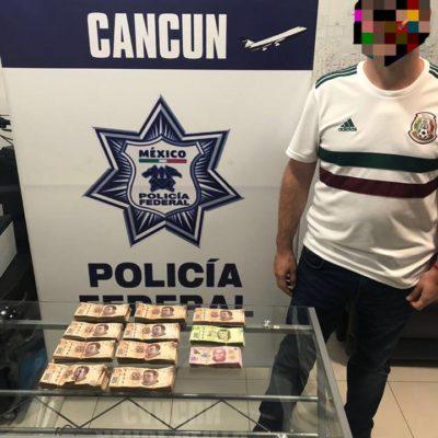 Confirman que hombre detenido hace casi 15 días en el aeropuerto de Cancún con 448 mil pesos era trabajador de Sefiplan hasta el pasado mes de enero