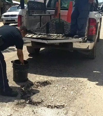 Ponen a policías de Tránsito a tapar baches en JMM