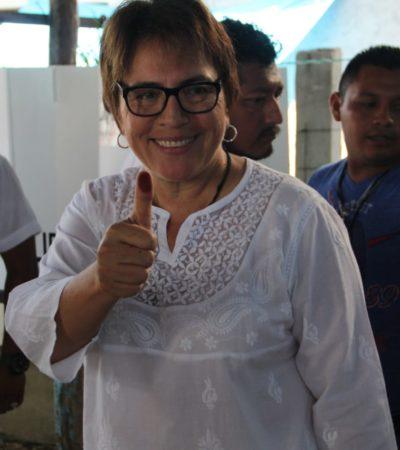 VOTA CANDIDATA DE MORENA EN SOLIDARIDAD: Confía Laura Beristaín en institutos electorales