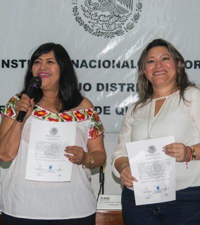 Entrega INE constancia de mayoría relativa a Mildred Ávila en el Distrito 03 de Cancún