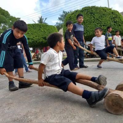 Habitantes de Tihosuco mantienen vigente la práctica de juegos tradicionales mayas
