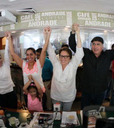 Celebra Laura Beristain 'triunfo inminente' de Morena en Solidaridad, acompañada de Adriana Teissier y Marybel Villegas
