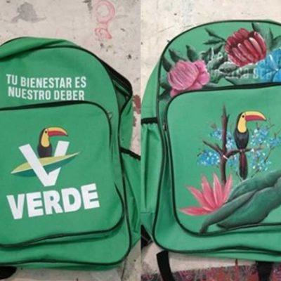 Convierte artista veracruzano mochila del Partido Verde en una obra de arte