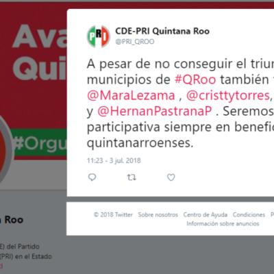 Reconoce PRI de Quintana Roo el triunfo de sus adversarios… entre ellos Cristina Torres