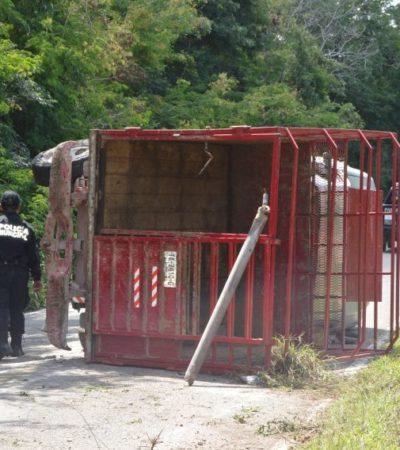 Vuelca camioneta con remolque que era conducida por un menor de edad en Tizimín