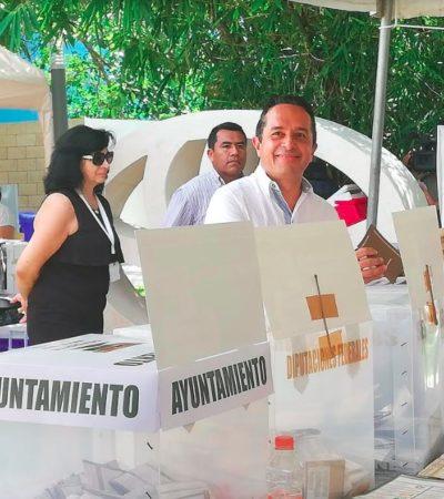 DESTACA GOBERNADOR VOTACIONES TRANQUILAS: Llama Carlos Joaquín a acudir a las urnas y reporta sólo incidencias menores en Quintana Roo