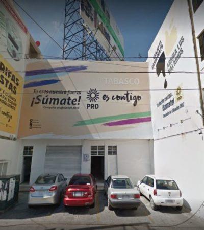 NI LA RENTA DE SU SEDE PODRÁ PAGAR: Debacle política y económica del PRD en Tabasco lo lanza 21 años atrás
