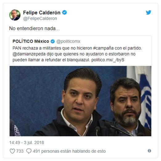Recrimina Calderón a dirigentes del PAN; 'no entendieron nada' les suelta en Twitter