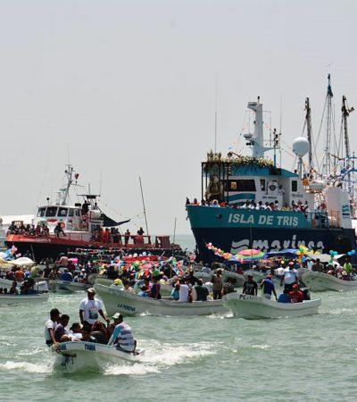 Desbordan fervor por la 'Virgen de los pescadores' en Campeche