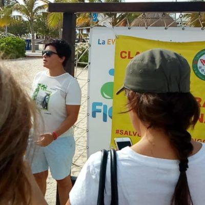 Ciudadanos clausuran simbólicamente Playa Langosta en protesta por proyecto de parque acuático