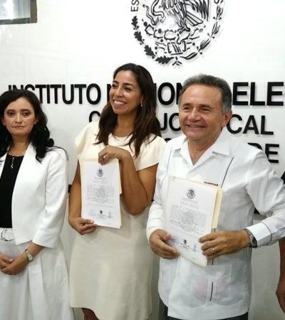 Reciben Marybel Villegas y José Luis Pech Várguez constancia de mayoría como Senadores electos de Morena por Quintana Roo