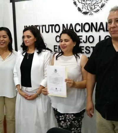 Recibe la panista Mayuli Martínez constancia como senadora electa al obtener segundo lugar en la votación en QR por principio de mayoría relativa
