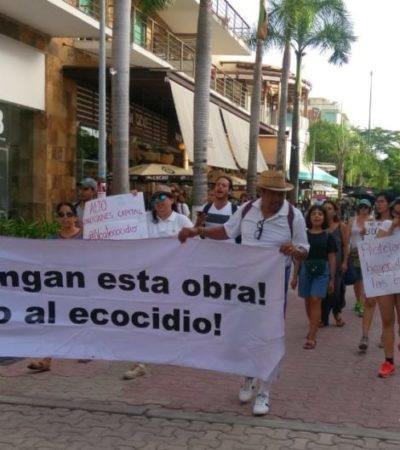 Ante ineficacia de Profepa, activistas se manifiestan y exigen detener el devaste de manglar en la calle Albatros de Playa del Carmen