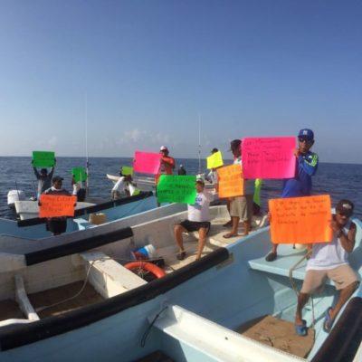 Pescadores de Isla Mujeres se manifiestan contra pescadores de Cuba que ingresan a aguas mexicanas y los dejan sin oportunidades