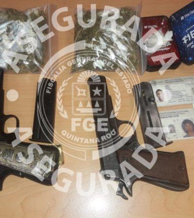 Detienen a cuatro hombres y una mujer con armas y droga tras realizar disparos en el fraccionamiento In House de Playa del Carmen
