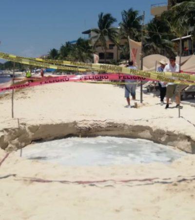 APARECE 'CENOTE' EN LA PLAYA: Para descartar aguas negras o contaminación, autoridades ambientales realizarán pruebas en el agua del socavón que se abrió frente a 'El Faro'