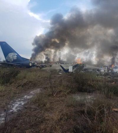 NO HAY MUERTOS POR DESPLOME DE AVIÓN EN DURANGO, AFIRMAN AUTORIDADES: Alrededor de 80 heridos, 12 en estado crítico es el saldo, hasta el momento, del accidente de avión de la empresa Aeroméxico