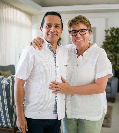 Se reúne Laura Beristaín con el Gobernador Carlos Joaquín