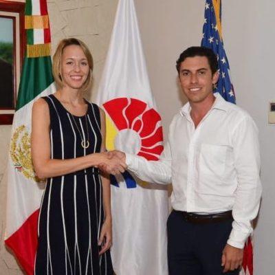 Recibe Remberto Estrada a cónsul de EU; con la visita refuerzan lazos de cooperación para una estancia segura de los turistas estadounidenses