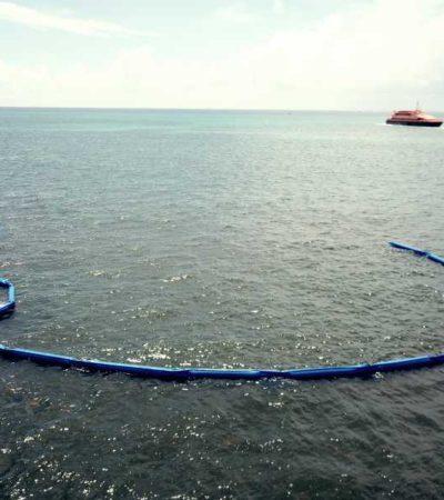 Inicia la instalación de barreras antisargazo en Playa del Carmen, con una inversión de 11 mdp