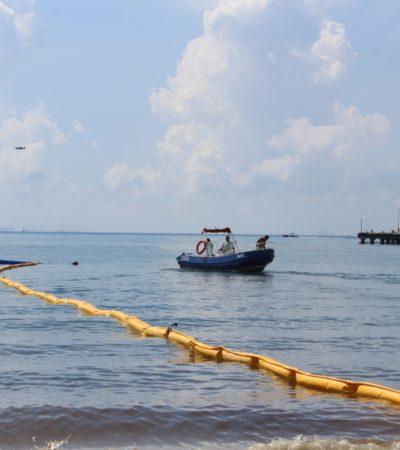 Sema realiza demostración del funcionamiento de barreras antisargazo en Playa del Carmen