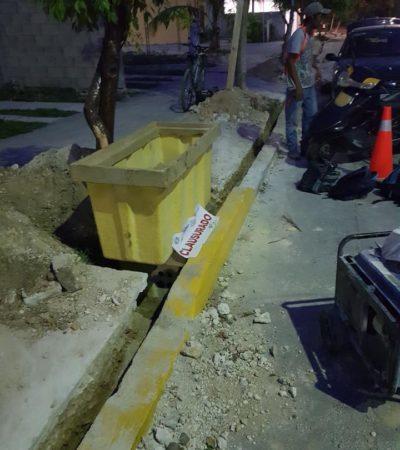 Clausuran obras de IZZI en el fraccionamiento Cataluña 1, por derribar árboles y cortar sus raíces, en Playa del Carmen