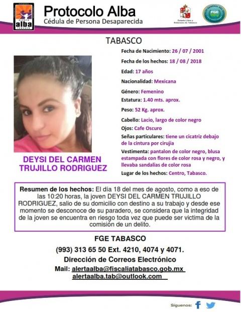ALERTA AMBER TABASCO: Ayuda a Deysi del Carmen a volver a casa