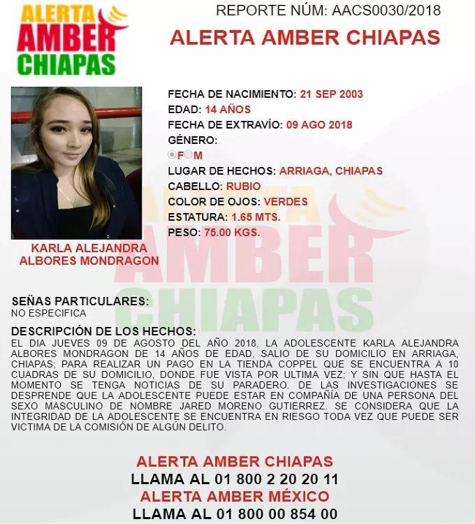 Emiten alerta 'Amber' por menor desaparecida en Arriaga, Chiapas; su nombre es Karla Alejandra Albores Mondragón