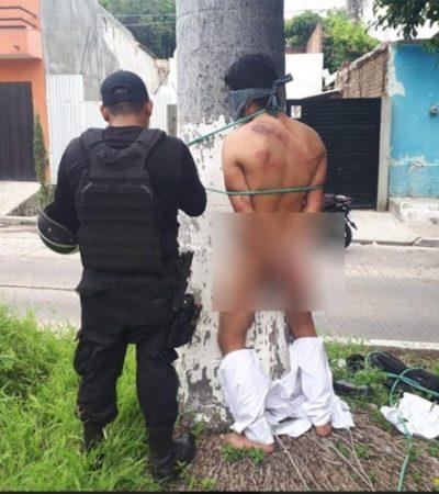Amarran, desnudan y golpean a sujeto como escarmiento por robar teléfono celular en Tuxtla Gutiérrez