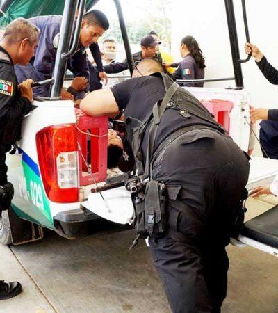 Deja frustrado robo a pagador de 'Prospera' tres policías heridos; delincuentes huyen sin botín