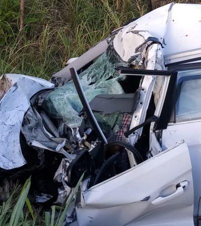 Deja dos muertos encontronazo entre auto compacto y tráiler en la carretera Frontera-Ciudad del Carmen