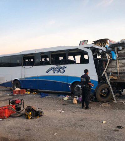 TRAGEDIA EN CAMPECHE: Deja 5 muertos y 17 lesionados choque de autobús que salió de Tenosique con destino a Mérida