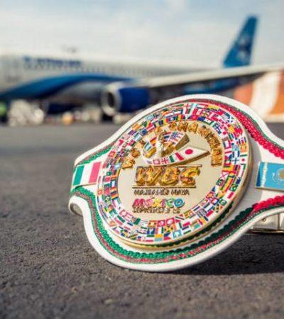 Presentan cinturón chiapaneco 'Majbanéj-Maya' que se fajará el vencedor de la pelea Canelo-Golovkin