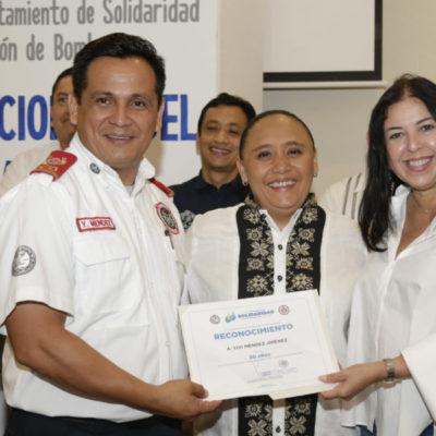 Celebra Solidaridad Día Nacional del Bombero; entregan reconocimientos por 10, 15 y 20 años de labor