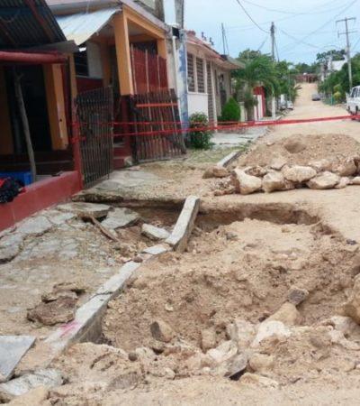 Daños en casas de la colonia Reforma en Chetumal serán pagados por la empresa contratistas, responde Sintra
