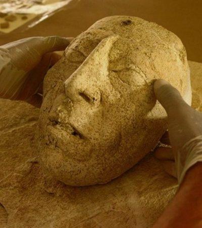 Descubren en Palenque máscara de estuco que podría representar a Pakal II en su vejez