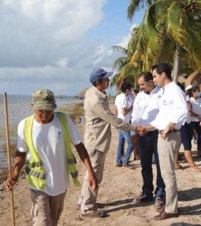Fonatur emprende acciones de limpieza en playas afectadas por el sargazo