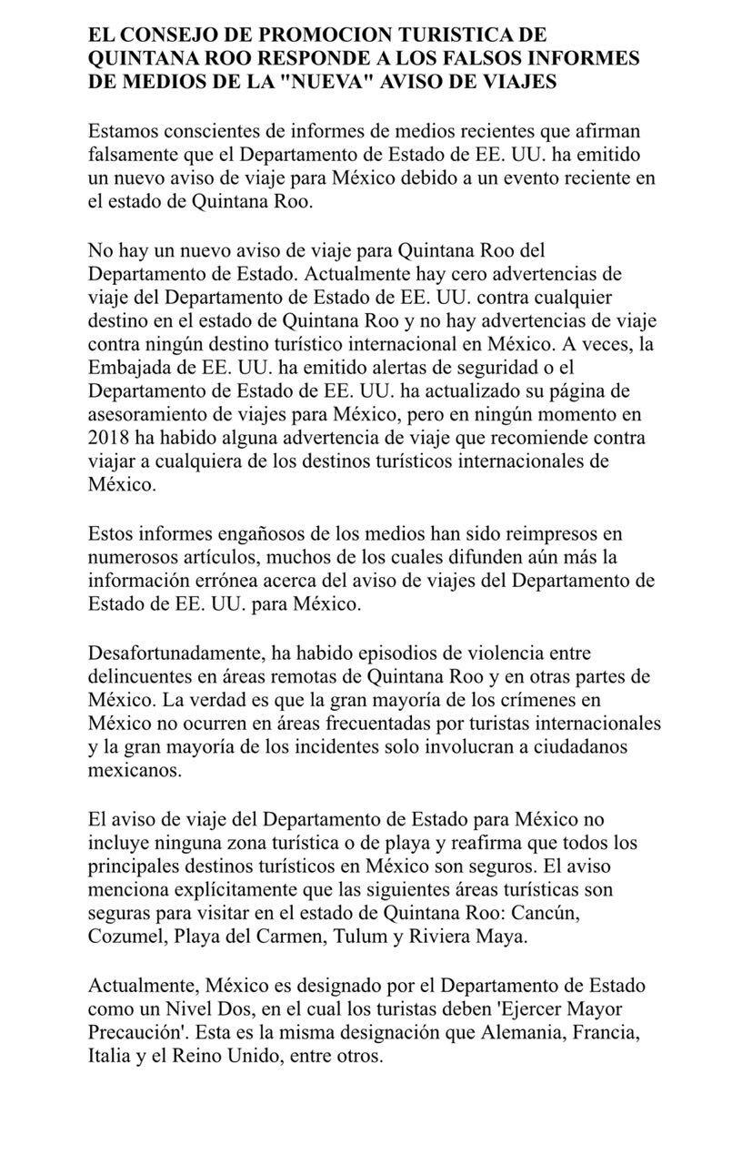 Difunden falsa alerta de viaje; Quintana Roo sigue sin cambios
