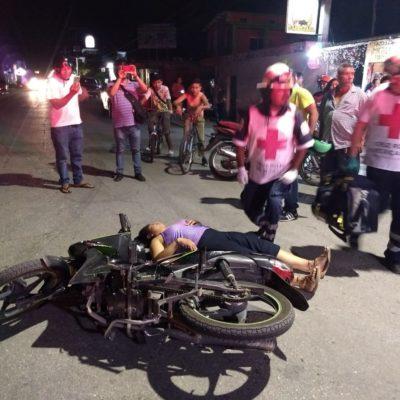 Golpes menores sufre mujer en accidente en Felipe Carrillo Puerto