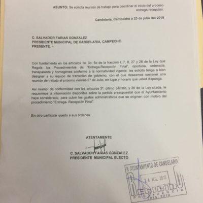 Alcalde electo pide recursos para proceso de entrega-recepción a sí mismo en Campeche