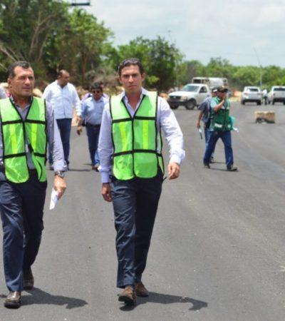 Asegura Remberto que antes de que termine su gobierno concluirá la pavimentación de las avenidas 135 y Durango de Cancún