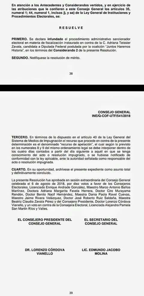 INE desecha la queja interpuesta por el PRI contra Adriana Teissier