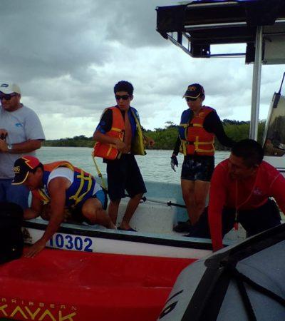 Rescatan a tres turistas en kayak en Bacalar