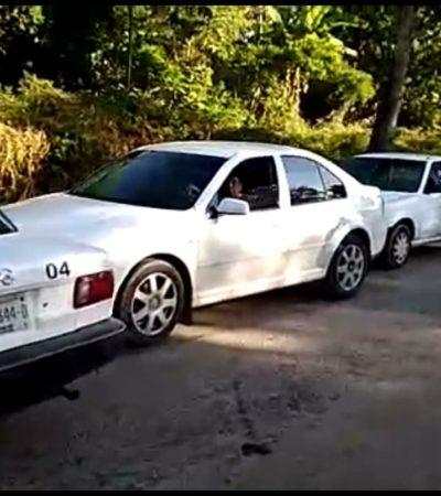 Interceptan taxistas automóviles sospechosos en Carrillo Puerto
