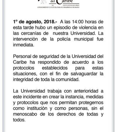 Anuncian reforzamiento de las medidas de seguridad en la Universidad del Caribe en Cancún tras asesinato en sus inmediaciones