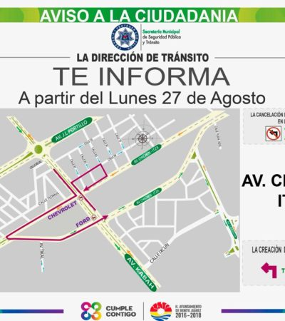 A partir del lunes, entra en funcionamiento la prohibición de vuelta a la izquierda en la Avenida Kabah con Chichén Itzá de Cancún