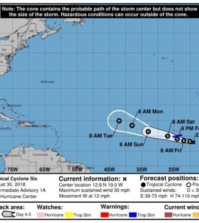 Se forma la depresión tropical número seis en el Atlántico; no hay peligro para Quintana Roo