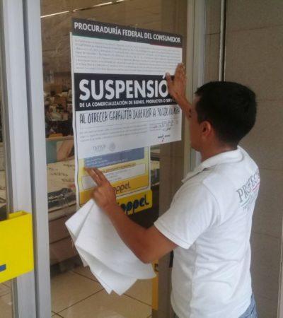 Profeco suspende tres comercios en Cancún por no cumplir con un correcto comportamiento comercial